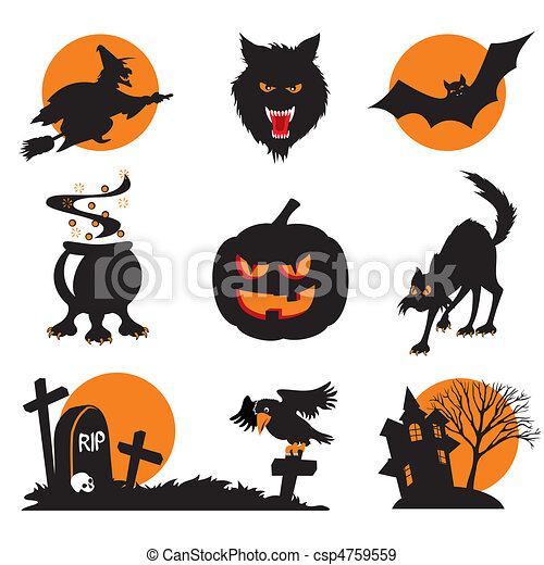 Halloween Icons Set Of Vector Images Two Color Icons Of Halloween