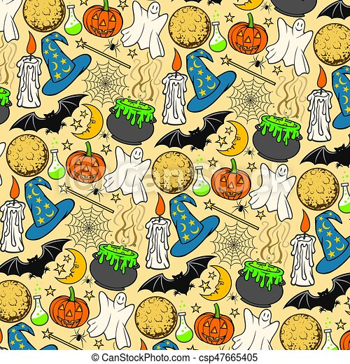 Halloween icons seamless pattern (background) - csp47665405