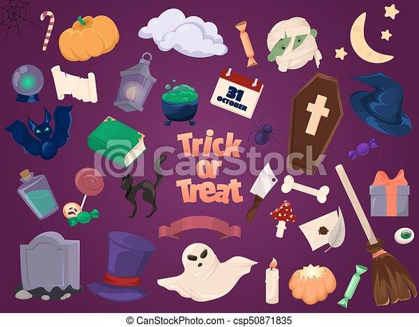 Halloween icons. Set of design elements. - csp50871835
