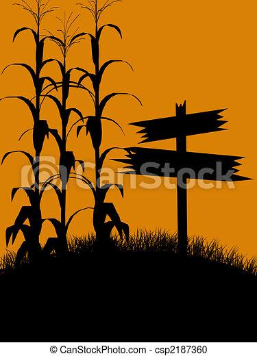 Halloween Illustration silhouette - csp2187360