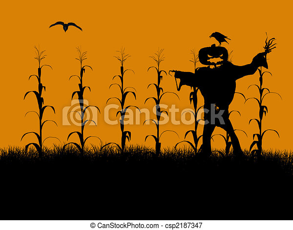 Halloween Illustration silhouette - csp2187347