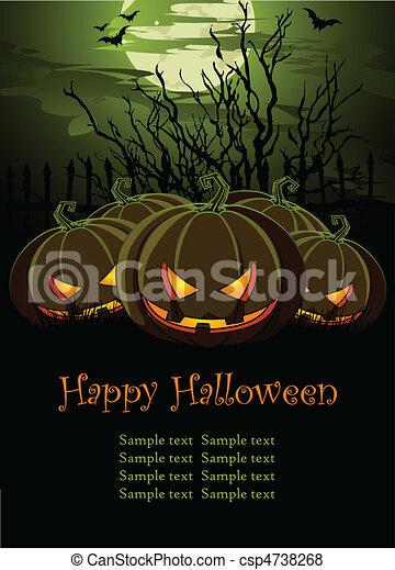 La ilustración de Halloween con pum - csp4738268
