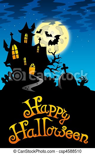 Halloween Image With Old Mansion Color Illustration