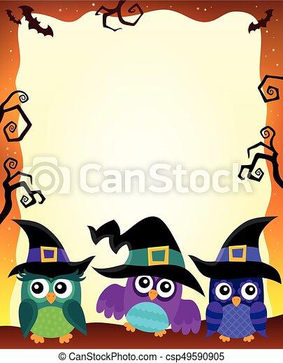 Halloween image with owls theme 1 - csp49590905