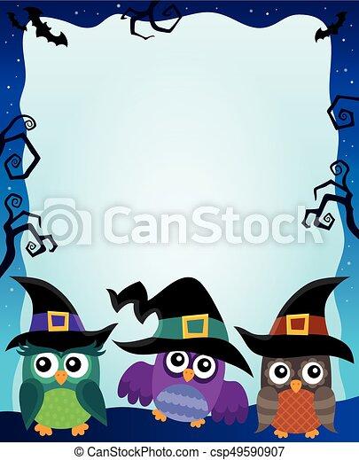 Halloween image with owls theme 2 - csp49590907