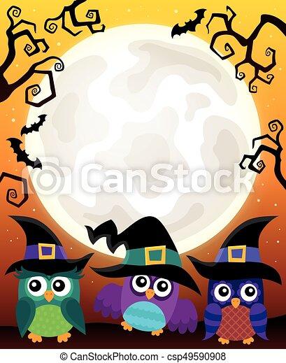 Halloween image with owls theme 3 - csp49590908