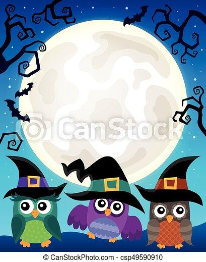 Halloween image with owls theme 4 - csp49590910