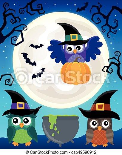 Halloween image with owls theme 5 - csp49590912