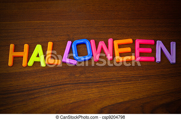 Halloween in colorful toy letters - csp9204798