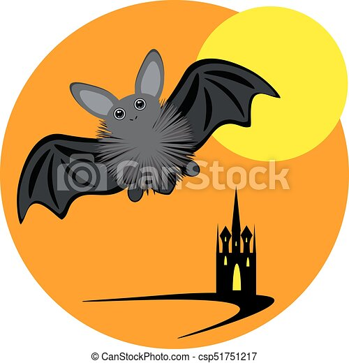 halloween inllustration with bat moon and castle vector vector clip rh canstockphoto com halloween full moon clipart