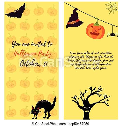 Halloween Invitation Card With Cat Ghost House Pumkin Tree And Bat