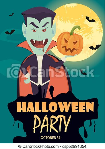 Halloween invitation or greeting card funny vampire holding halloween invitation or greeting card funny vampire holding pumpkin csp52991354 stopboris Image collections