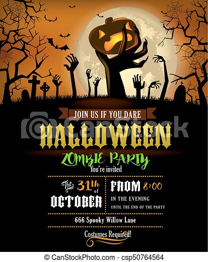 Halloween invitation with zombies hands halloween party invitation halloween invitation with zombies hands csp50764564 stopboris Image collections