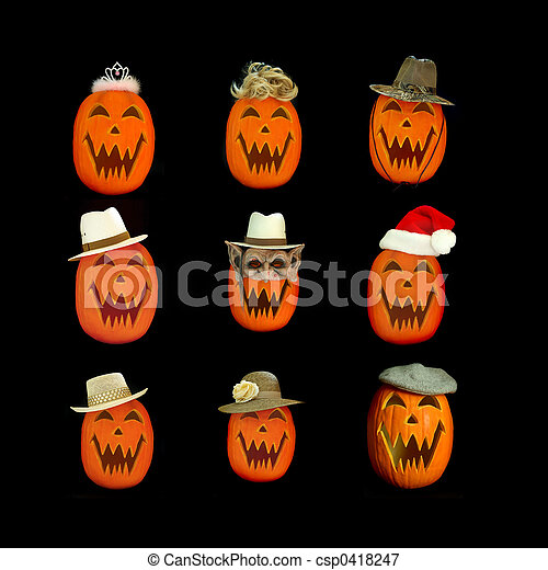Halloween Jack O Lantern Collage - csp0418247