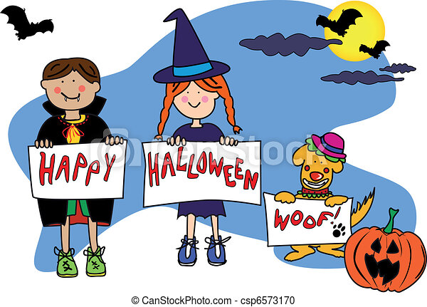 halloween kids and dog fun cartoon characters disguised in rh canstockphoto com