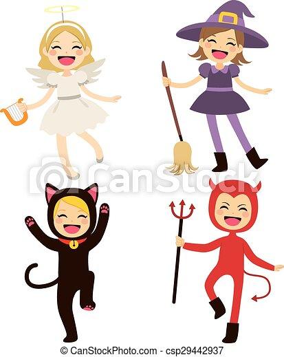 Halloween, kinder, kostüme. Reizend, wenig, gruppe,... Vektoren ...