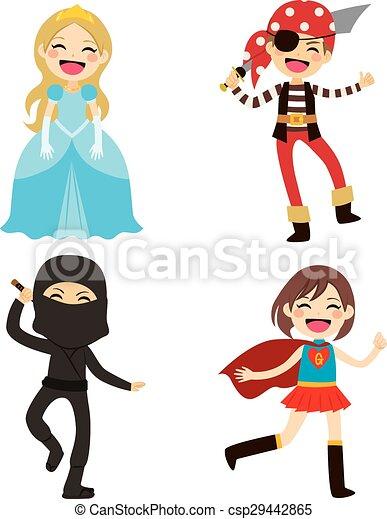 Halloween, kinder, verkleidet. Reizend, wenig, gruppe,... Clipart ...