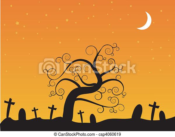 halloween-, kyrkogård, natt - csp4060619