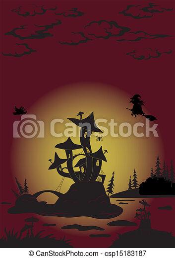 Halloween landscape with Castle - mushroom - csp15183187