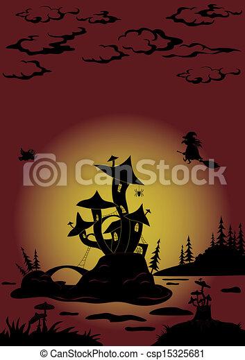 Halloween landscape with Castle - mushroom - csp15325681
