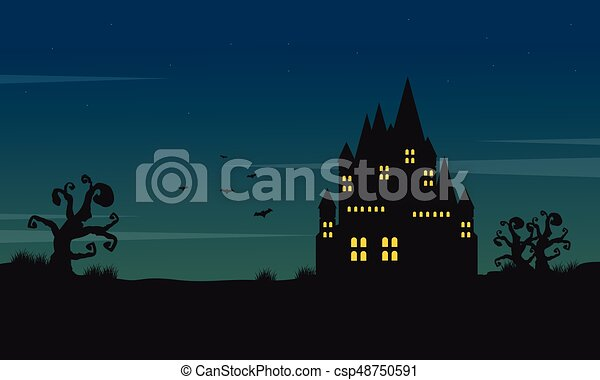 Halloween Landscape With Castle At Night Vector Illustration