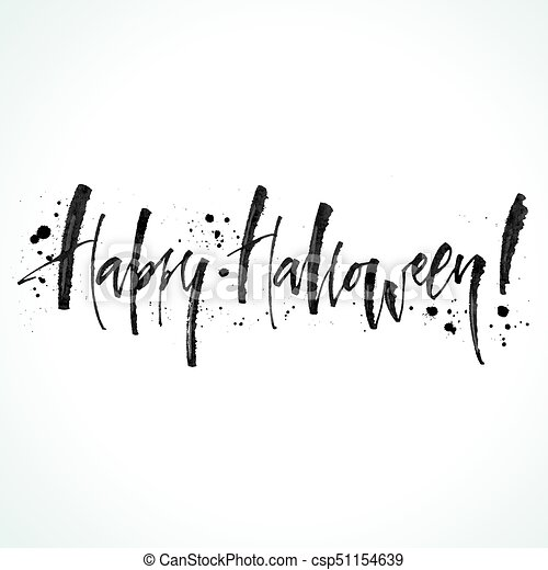 Halloween Lettering Happy Halloween Ink Lettering Modern Calligraphy Vector Illustration Template For Posters Banners