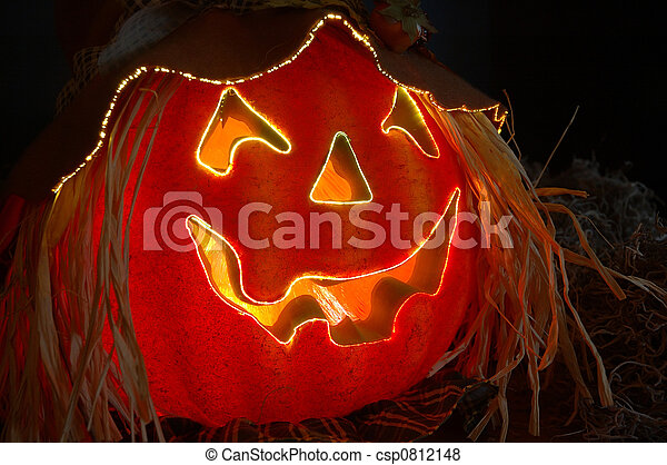 Halloween Lighted Pumpkin - csp0812148