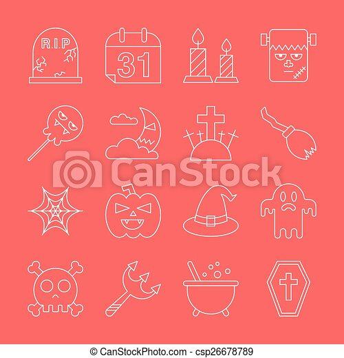Halloween line icon set - csp26678789