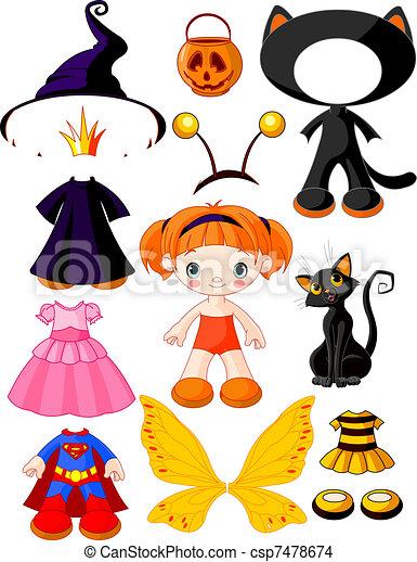 halloween, m�dchen, papa, kleidet - csp7478674
