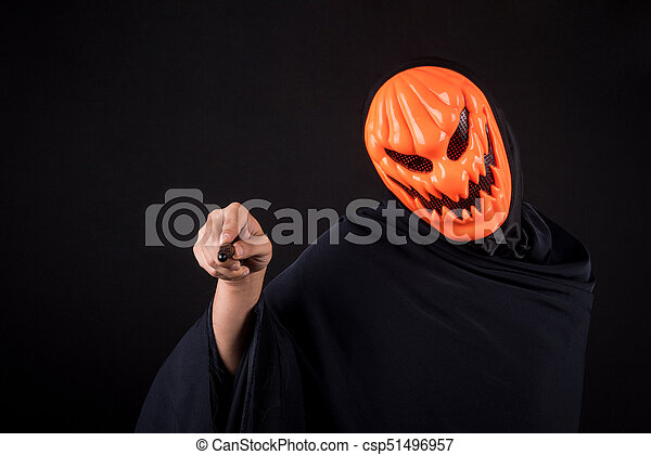 Halloween Maan.Halloween Man With Pumpkin Mask Holding Magic Wand