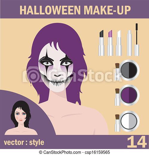 Halloween mask skull face art - csp16159565