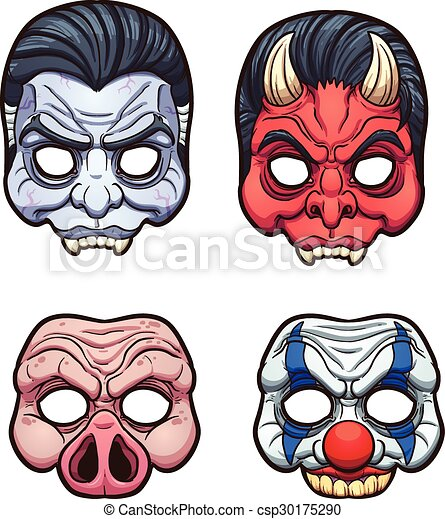 Simple Halloween Masks.Halloween Masks Halloween Masks Vector Clip Art Illustration With Simple Gradients Each On A Separate Layer Canstock