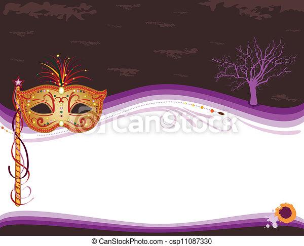 Halloween masquerade invitation with golden mask - csp11087330