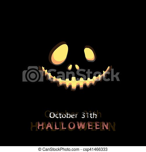 halloween message design background glowing mask with a smile