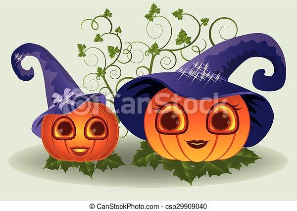 Halloween mom and baby pumpkins - csp29909040