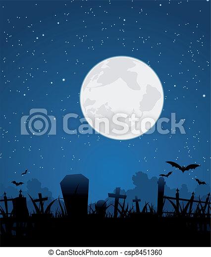 Halloween moon and graveyard. Illustration of a graveyard ...