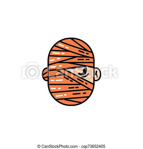 halloween mummy head flat character - csp73652405