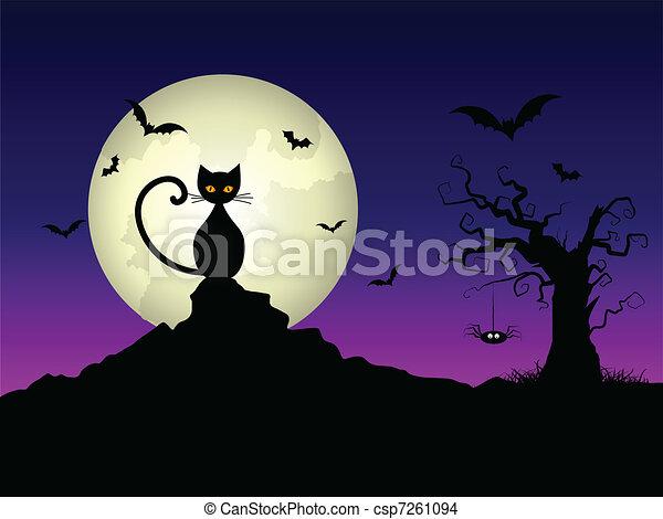Halloween night background - csp7261094