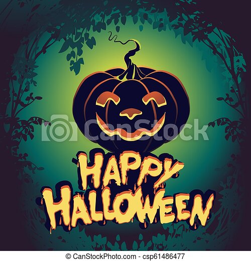 Halloween Night Background With Pumpkin Haunted House And Full Moon Flyer Or Invitation Template