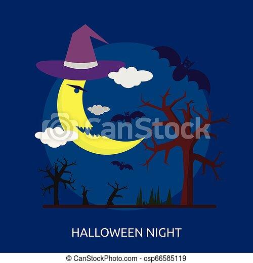Halloween Night Conceptual illustration Design - csp66585119