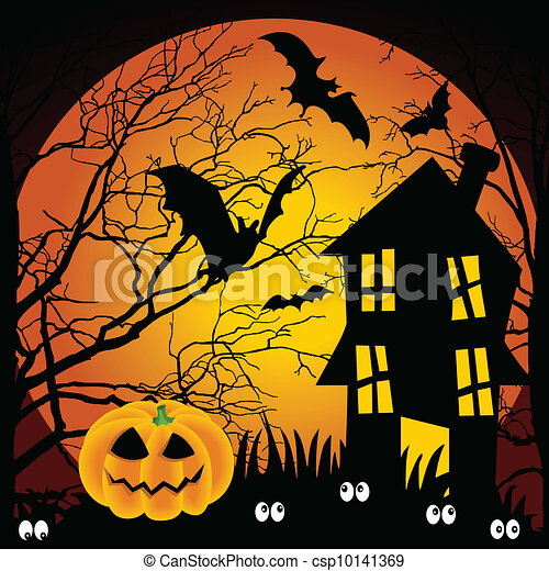 Halloween Spooky House Drawing.Halloween Night Haunted House With Scalable Vectorial Image