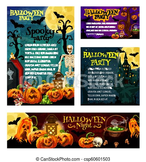Halloween Night Party Invitation Banner Template