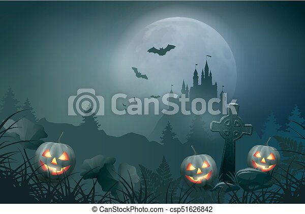 Halloween Night Scene - csp51626842
