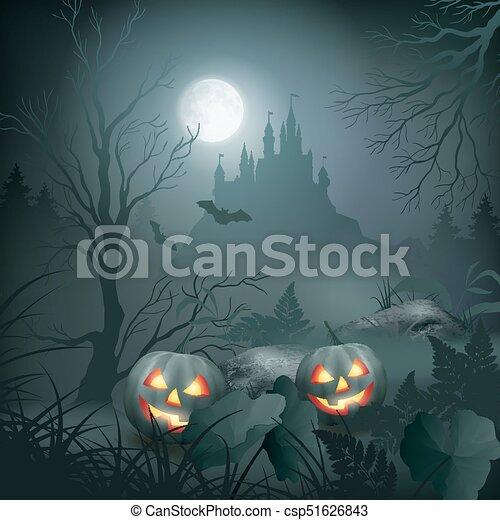 Halloween Night Scene - csp51626843
