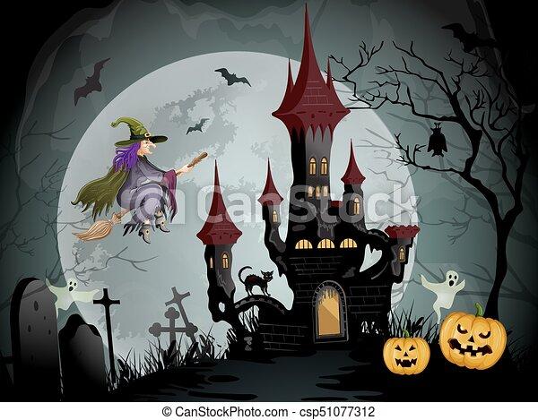 Halloween night scene with spooky castle - csp51077312
