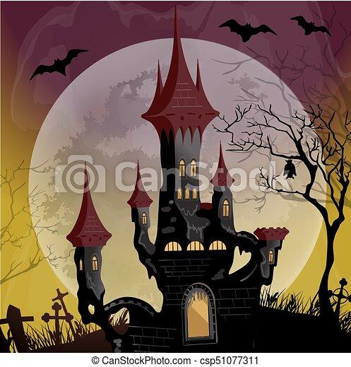 Halloween night scene with spooky ghost castle - csp51077311