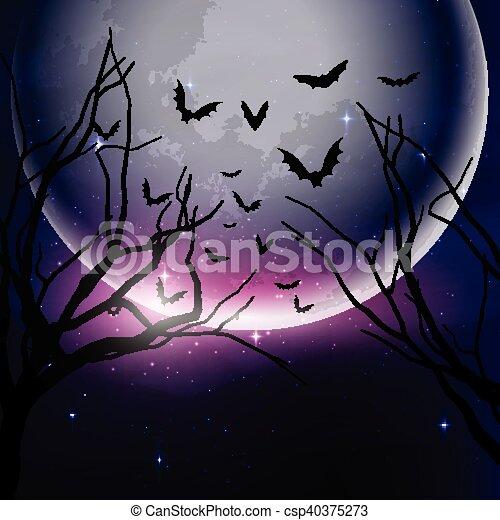Halloween night sky background - csp40375273