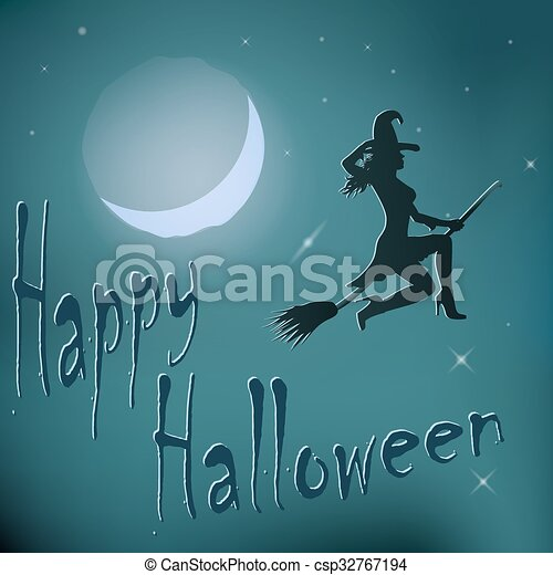 Halloween night witch riding broom. - csp32767194