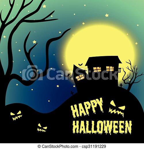 halloween noc, uczęszczany dom - csp31191229