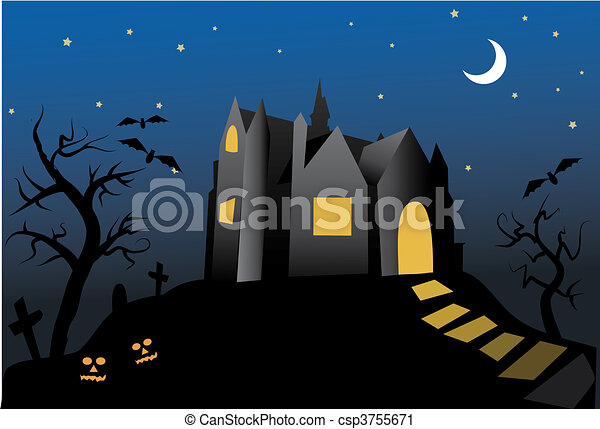 halloween- old haunted house - csp3755671